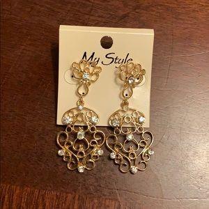 New gold with rhinestone dangle earrings